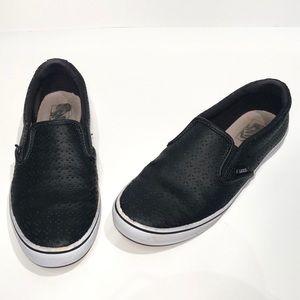Vans Laser Cut Black Leather Classic Slip Ons